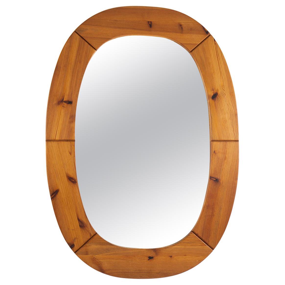 Oversized Swedish Mirror in Pine, by Glasmäster Markaryd