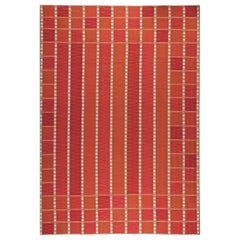 Oversized Swedish Red, Off-White, Teal and Purple Flat-Woven Rug