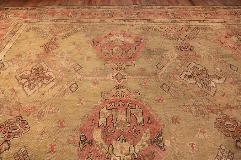 Hand-Knotted Oversized Tribal Antique Turkish Oushak Rug. Size: 16 ft 3 in x 24 ft 7 in  For Sale