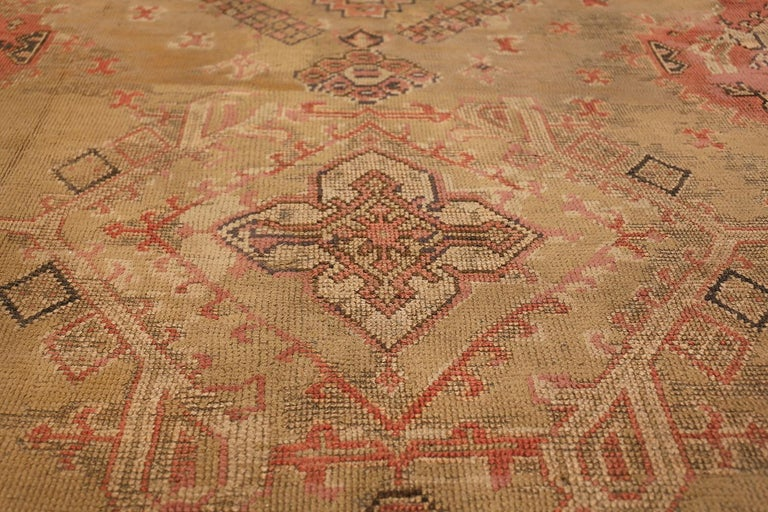 Oversized Tribal Antique Turkish Oushak Rug. Size: 16 ft 3 in x 24 ft 7 in  For Sale 1
