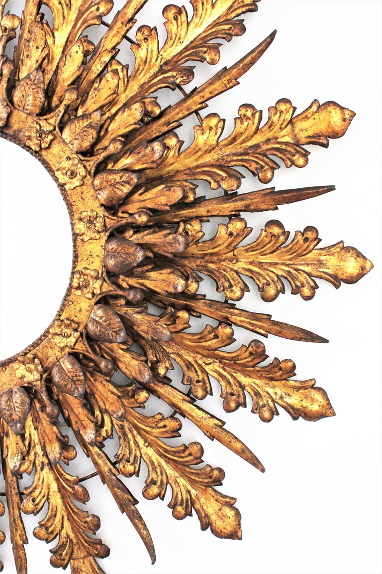 Oversized Triple Layered Gilt Metal Baroque Style Sunburst Mirror, France, 1930s For Sale 4