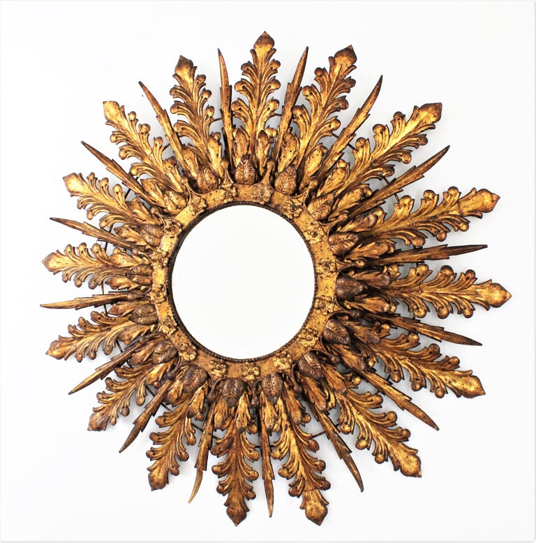 Oversized Triple Layered Gilt Metal Baroque Style Sunburst Mirror, France, 1930s For Sale 6