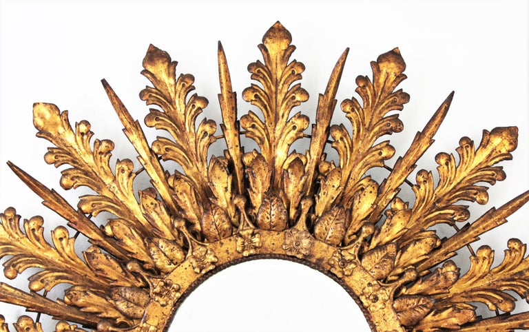 Oversized Triple Layered Gilt Metal Baroque Style Sunburst Mirror, France, 1930s For Sale 9