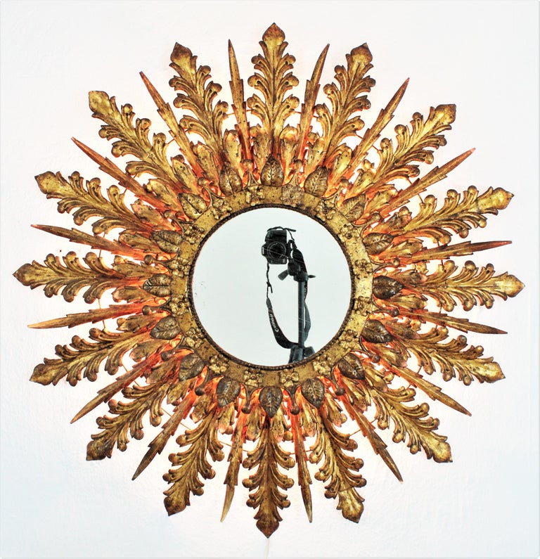 20th Century Oversized Triple Layered Gilt Metal Baroque Style Sunburst Mirror, France, 1930s For Sale