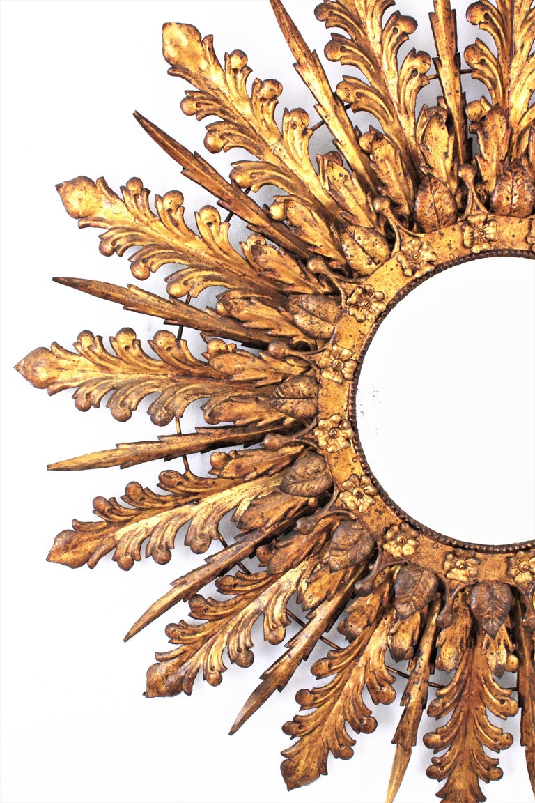 Oversized Triple Layered Gilt Metal Baroque Style Sunburst Mirror, France, 1930s For Sale 1