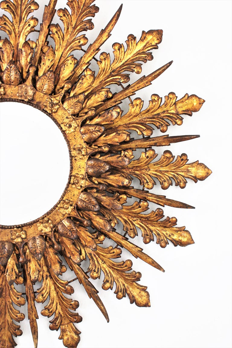 Oversized Triple Layered Gilt Metal Baroque Style Sunburst Mirror, France, 1930s For Sale 2