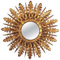Oversized Triple Layered Gilt Metal Baroque Style Sunburst Mirror, France, 1930s