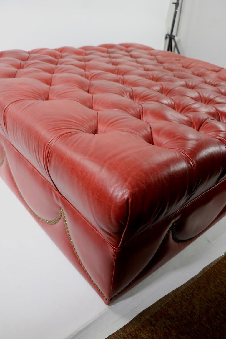 Oversized Tufted Leather Pouf Ottoman In The Style Of