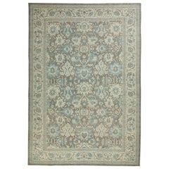 Oversized Turkish Style Sultanabad Rug with Blue and Ivory Floral Details