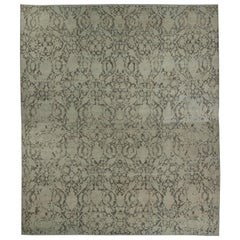 Oversized Turkish Sultanabad Style Rug with Black Floral Details on Beige Field