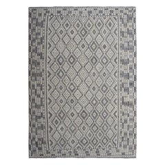 Oversized Undyed Natural Wool Afghan Kilim Reversible Handwoven Reversible Rug