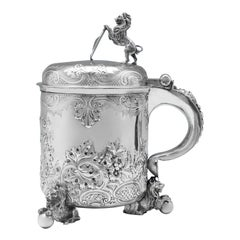 Oversized Victorian Antique Sterling Silver Tankard or Wine Cooler by Elkington
