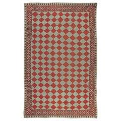 Oversized Vintage American Red and Beige Diamond Handwoven Wool Rag Rug