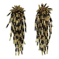Oversized Waterfall Black Gold Glass Beaded Clip Earrings