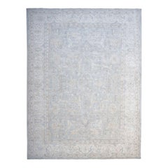 Oversized White Wash Peshawar Pure Wool Hand Knotted Oriental Rug