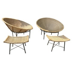 Oversized Wicker and Iron Hoop Chairs and Ottomans, Modernist / Garden c.1970s