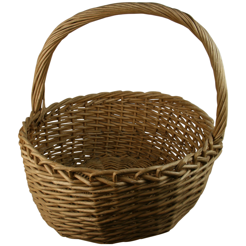 Oversized Wicker Basket/Folk Art