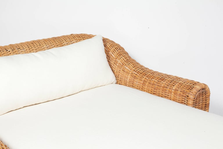 Oversized Wicker Chaise with Newly Upholstered White Linen ...
