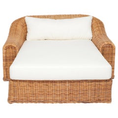 Oversized Wicker Chaise with Newly Upholstered White Linen Cushion