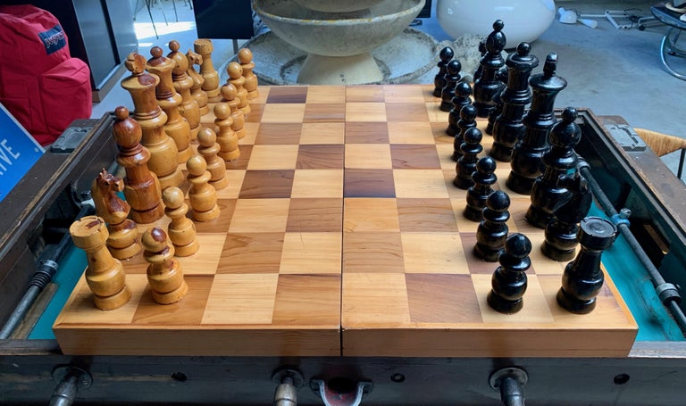 Late 20th Century Oversized Wood Chess Set For Sale