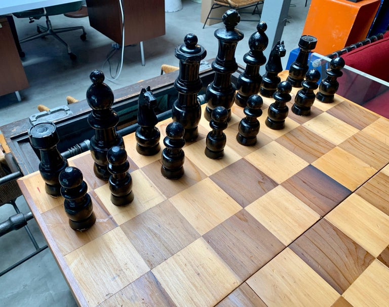 Oversized Wood Chess Set For Sale 1