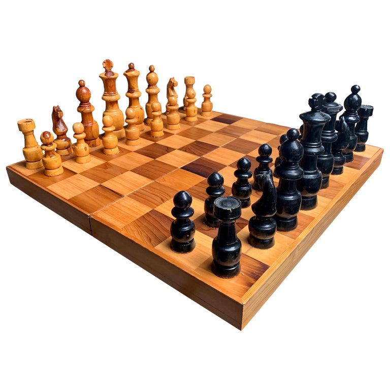 Oversized Wood Chess Set For Sale