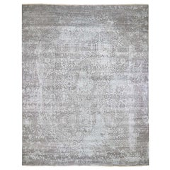Oversized Wool and Silk Hand Knotted Broken Persian Design Oriental Rug