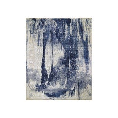 Oversized Wool and Silk Shibori Design Tone on Tone Hand Knotted Oriental Rug