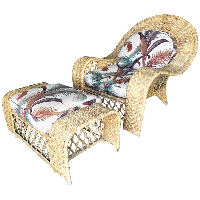 """Oversized Woven Wicker """"Peacock"""" Lounge Throne Chair with Matching Ottoman For Sale"""