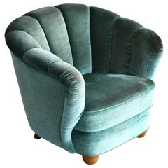 Overstuffed Banana Club Chair Danish, 1940s