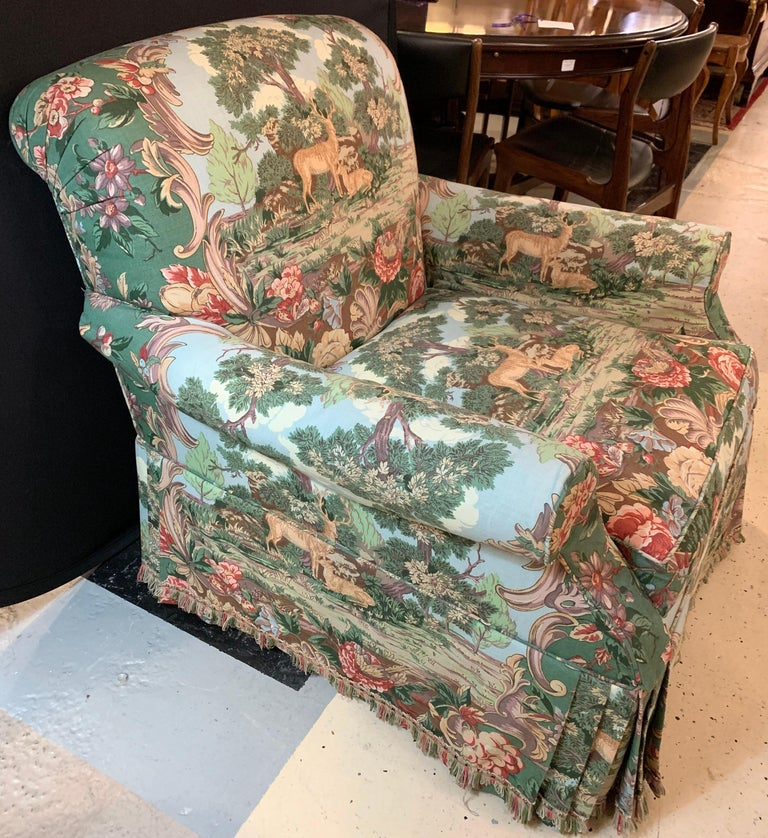 Overstuffed hunter swivel armchair. A finely upholstered lounge chair fit for a cabin or man cave. Priced to sell quickly.