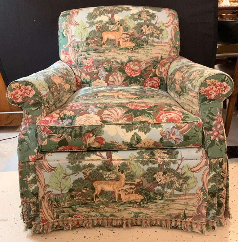 Overstuffed Hunter Swivel Armchair In Good Condition For Sale In Stamford, CT