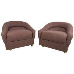 Overstuffed Mid-Century Modern Club Chairs