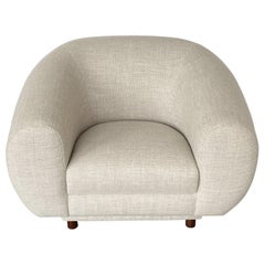Overstuffed Polar Bear Style Lounge Chair Inspired by Jean Royere