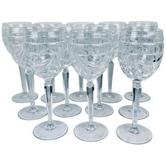"Crystal Wines in the ""Overture"" Pattern by Waterford, 8.25""-Set of 12 Crystal"