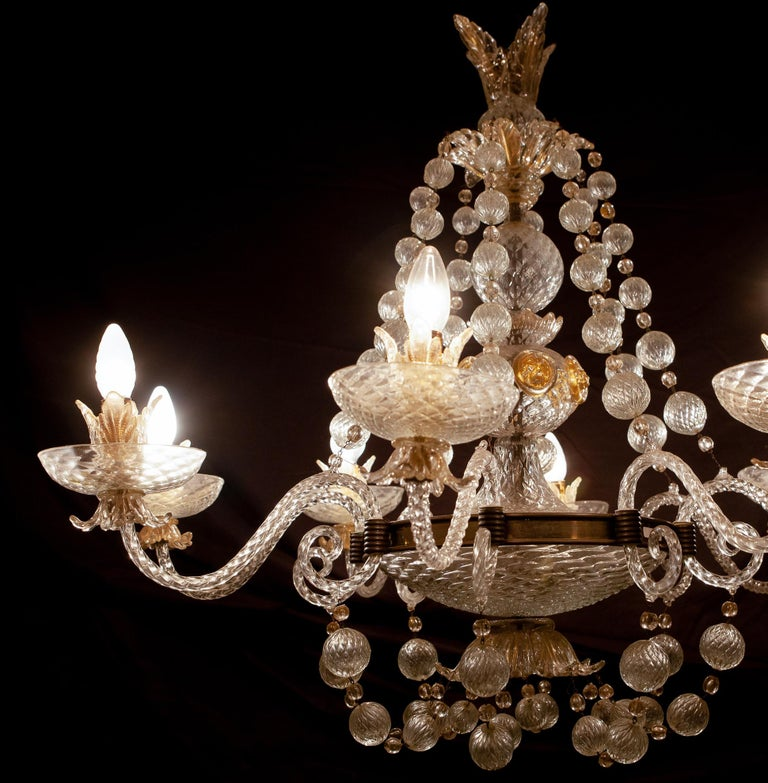 Italian Overwhelming Murano Glass Chandelier by Barovier & Toso, 1960s For Sale