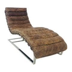 Oviedo Distressed Leather Chaise Lounge