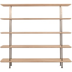 Solid European Oak and Turned Brass Shelving Unit by Benchmark Furniture