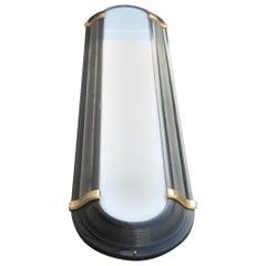 Ovoid Big Sconce Art Decò Style Black Gold White Metal Lacquered Plexiglass 1970