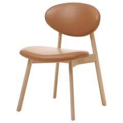 Ovoid Chair in Solid Oak, Raw Effect and Leather by Craig Bassam