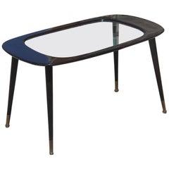 Ovoid Paolo Buffa Mahogany Mid-Century Table Coffe Italian Design Brass Feet