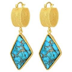Ovoidal Turquoise Earring