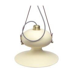 Ovoide n.° 3 Resin Pendant Hanging Light with Brass and Leather Details