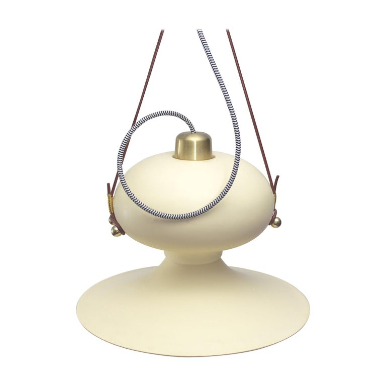 Ovoide n.° 3 Resin Pendant Hanging Light with Brass and Leather Details For Sale