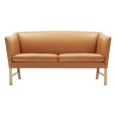 OW602 Sofa in Oak Soap with Leather Seat by Ole Wanscher