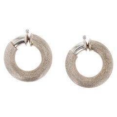 OWC Italy Hand-Textured 18 Karat White Gold Hoop Earrings