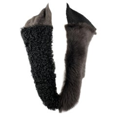 OWEN BARRY Black & Gray Patchwork Shearling & Fur Scarf