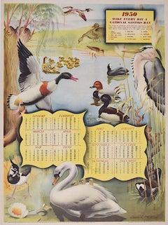 UK National Savings Poster 1950 Calendar Ducks Swans Birds Moorhen Owen Miller