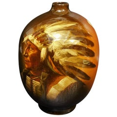 Owens Pottery Utopian Vase Native American Sioux Chief Cora McCandless