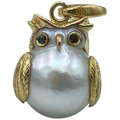 Owl Black Diamond 18 Karat Australian Pearl Charm or Pendant Necklace